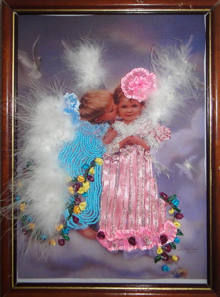 Вышивки лентами ангелочков