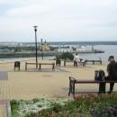 ''Там вдали, за рекой...''. На фоне речного порта, собора Александра Невского, н