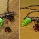 Подвеска ''Ботаника'' (техника ''гальваника'', lampwork, wire wrap). Автор Елена