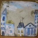 Панно ''Город''. Шамот (фр. chamotte) – огнеупорная глина. Автор Светлана Сахаро