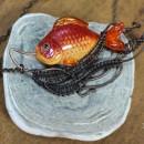 Подвеска ''Золотая рыбка'' (техника lampwork, wire wrap). Автор Елена Сюкова. Фо