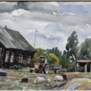 Юлия Щелокова. Деревня. Хмурый день. Бумага, акварель. 2014 г.