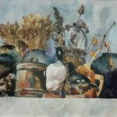 Юлия Щелокова. Натюрморт с чучелами птиц. Бумага, акварель. 2014 г.