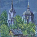 Юлия Щелокова. Старый город. Ветлуга. Бумага, пастель. 2014 г.