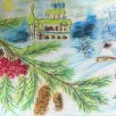 Крещенские морозы. Бумага, сухая пастель. Рис. Анны Захаровой