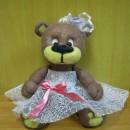 Медведиха-невеста. Игрушка, выполненная в технике сухого валяния. Автор Анастаси