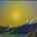 Светлана Морозова. Солнце над горным озером. 1989. Фоторепродукция Татьяны Шепел