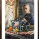 Автопортрет с чайным натюрмортом. Акварель. 2014. Худ. Величко В.Н.. Фото Татьян