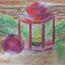 Рождественский фонарь. Бумага, сухая пастель. Рис. Анны Захаровой