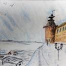 Зимний Нижний. Бумага, сухая пастель. Рис. Анны Захаровой