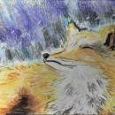 Первый снег. Бумага, сухая пастель. Рис. Анны Захаровой
