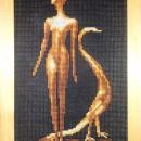 Серия ''Золотое руно''. Девушка с павлином. Вышивка крестом. Работа Марковой Л.П