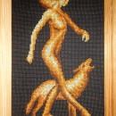 Серия ''Золотое руно''. Девушка с волком. Вышивка крестом. Работа Марковой Л.П.