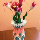 Фуксия. Модульное оригами. Работа Хайтаровой В.С.
