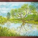''Как зеркало, вода реки...''. Картон, акрил, гуашь. Работа Княжеской Н.Н.