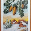 Зимняя сказка. Вышивка крестом. Работа Хатанзеевой Г.В.