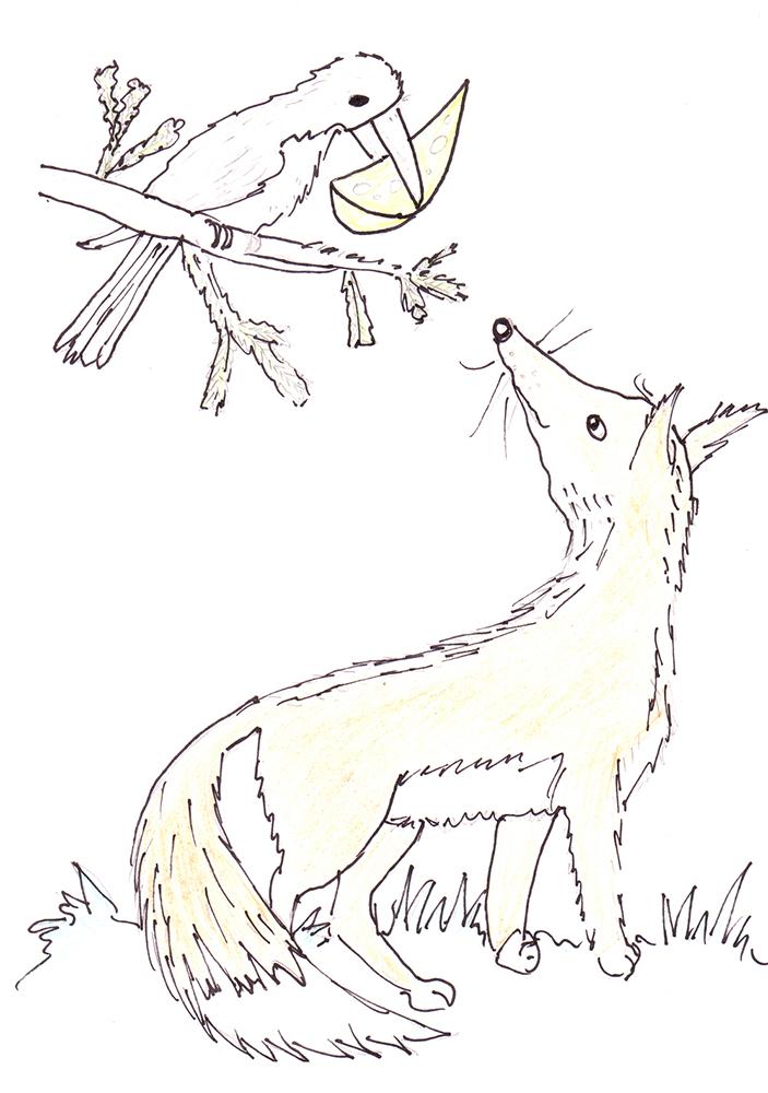 рисунки ворона и лисица басни